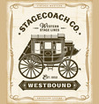 vintage western stagecoach label graphics vector image vector image