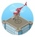 VIP landing in helicopter on skyscraper roof vector image