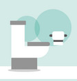 white toilet bowl and paper cartoon bathroom vector image