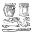 Jar spoon knife and slice of bread with jam vector image