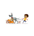 african-american boy holds a dog-lead and looks vector image