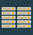 Bitcoins are accepted here icons in a flat style