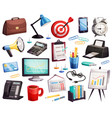 business office accessories symbols collection vector image vector image