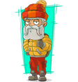 Cartoon old traveler in nylon jacket vector image vector image
