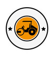 circular emblem with road roller vector image