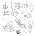 coloring page for kids set of sea animals vector image vector image