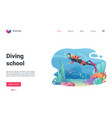 diving school landing page diver swimming in vector image vector image