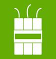 dynamite explosives icon green vector image