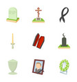 exequies icons set cartoon style vector image vector image