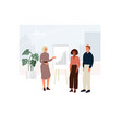 female company coach holds a business meeting vector image