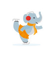 Flat elephant character ice skating