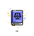 flat icon of law book for justice concept vector image