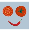 Fresh vegetables smile face on background vector image