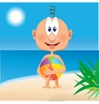 funny baby with ball vector image