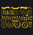 gold floral elements set vector image