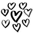 grunge hearts set valentine day print vector image vector image