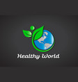 healthy world logo vector image vector image