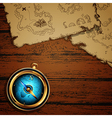 marine theme compass and map vector image vector image