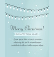 merry christmas card garland on blue background vector image vector image