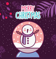 merry christmas celebration snowman in crystal vector image vector image