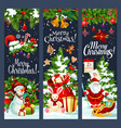 merry christmas santa gifts tree banners vector image vector image