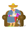 mexican grandmother and jerboa a pet old woman vector image vector image