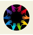 People colorful hands united together vector image vector image