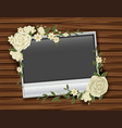 photoframe with white roses vector image vector image