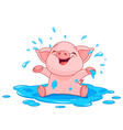 Piggy in a puddle vector image vector image