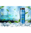refreshing men s body wash gel with mint leaves vector image