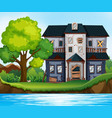 ruined house by the pond vector image vector image