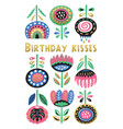 scandinavian flora banner with birtday message vector image