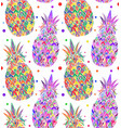 seamless doodle texture with pop art pineapple vector image