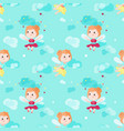 seamless pattern with cute little fairies vector image