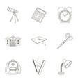 set of pictures about the school study training vector image