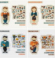 Set of professions Barber hairdresser filmmaker vector image vector image
