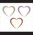 set of three hearts in italian french and german vector image