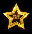 silhouette gold disco star sign vector image