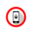 Smartphone with lock icon Warning sign with flat vector image vector image