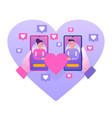 social media romantic relationship vector image vector image