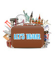 suitcase travel bag with world travel landmark vector image vector image