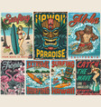 surfing vintage colorful posters composition vector image vector image