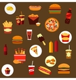 Takeaway and fast food flat icons vector image vector image