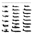us modern military aircraft silhouettes vector image vector image