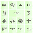 14 flight icons vector image vector image