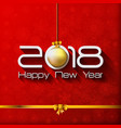 2018 happy new year gift greeting card with gold vector image vector image