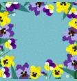 a square frame pansies on a blue background vector image