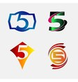 Abstract icons for number 5 logo set vector image