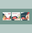 advertise template with autumn forest and animals vector image vector image