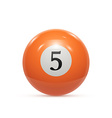 Billiard five ball isolated on a white background vector image vector image
